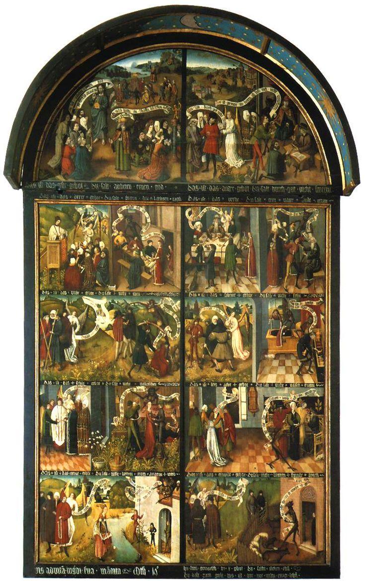 w gdańskim kościele mariackim znajduje się również tablica 10 przykazań ze schyłku XV wieku; jest to późnogotyckie, północne malarstwo dydaktyczne, obrazowo wyjaśniające 10 przykazań (po dwa przykłady dla każdego przykazania)