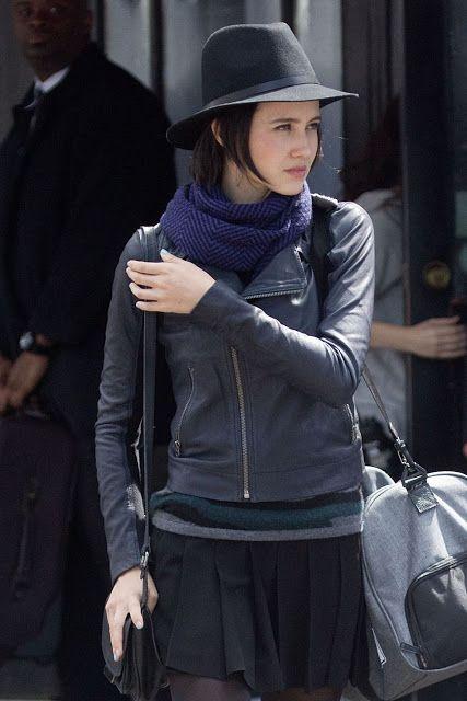 Celebrities In Leather: Julia Goldani Telles wears a black leather jacket