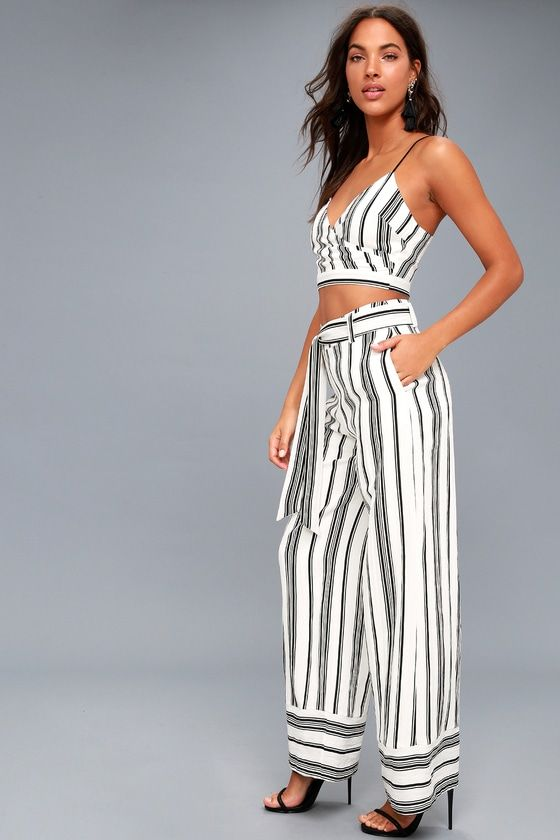 0def115c8f69 Elspeth Black and White Striped Two-Piece Jumpsuit 2