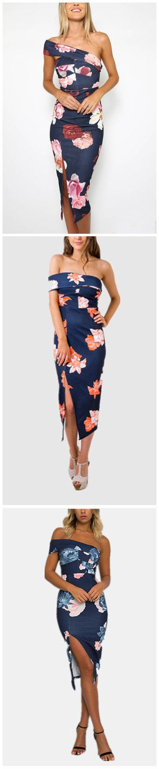 One Shoulder Random Floral Print Splited Hem Dress
