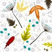 Falling Leaves by fat_bird_designs, Spoonflower digitally printed fabric