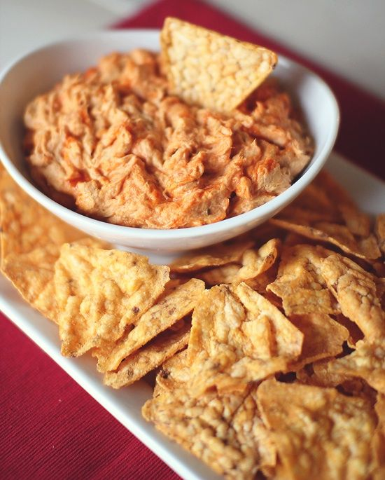 Low Calorie Cheesy Buffalo Chicken Dip! This is a great site, she makes over recipes to be healthier, and she includes nutrition facts, WW points for all recipes.