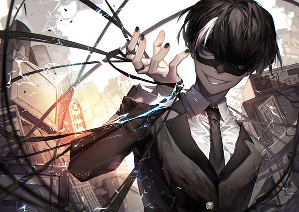 Image d'anime 				1024x726 avec  		noblesse 		tao 		tao (noblesse) 		kawacy 		single 		looking at viewer 		black hair 		smile 		fringe 		lips 		nail polish 		grey eyes 		hair over one eye 		fingernails 		head tilt 		bicolored hair 		outdoors 		bondage 		electricity 		male
