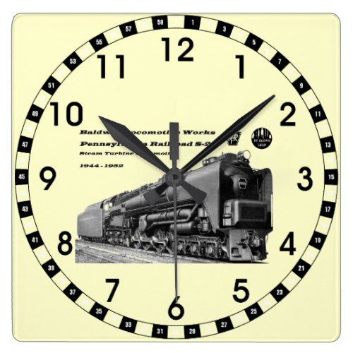 Baldwin Locomotive Works S-2 PRR Steam Turbine Square Wall Clock