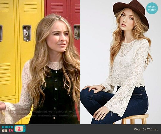 Forever 21 Bell Sleeved Lace Crop Top worn by Sabrina Carpenter on Girl Meets…