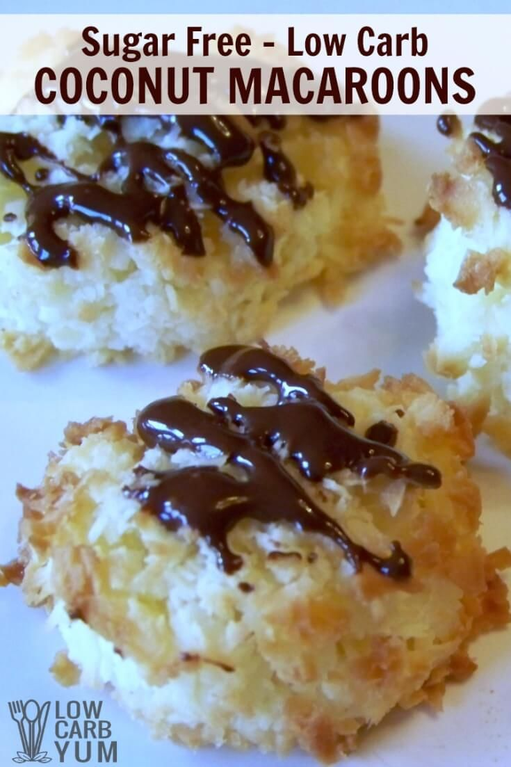 Soft sugar free low carb coconut macaroons are perfect bite sized treats. Drizzle these gluten free cookies with chocolate for more decadence. | LowCarbYum.com via @lowcarbyum