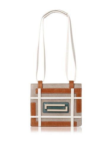 White-gray Retro Maze Zipper Shoulder Bag