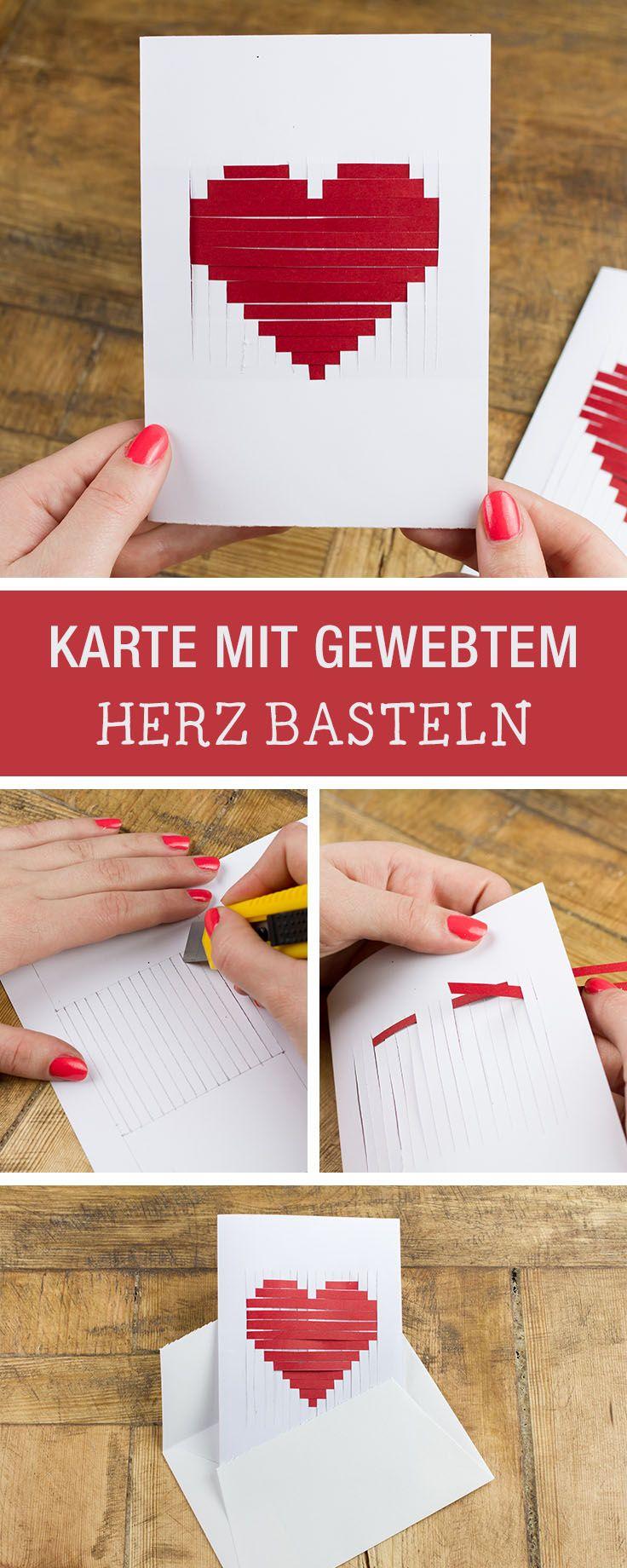 Grußkarte basteln: Gewebtes Herz aus Papier als Valentinstagsgeschenk / diy greeting cards for valentine's day via DaWanda.com