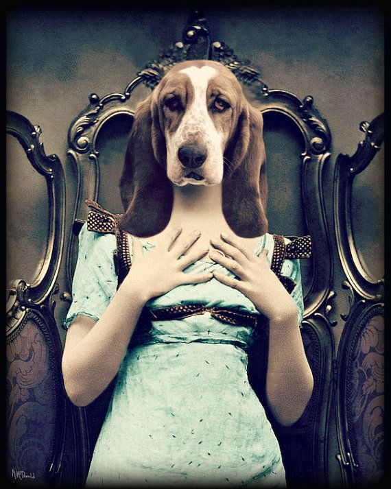 "Собака Искусство, Бассет-хаунд, Коллаж, антропоморфный, животных Фотография, Декоративные, печати, Винтаж, Surreal, синий, 8 х 10, ""Далила"""
