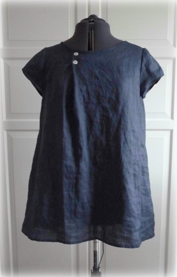 Dark Blue Navy Tunic Dress Irish Linen Short Sleeves with Mother of Pearl…