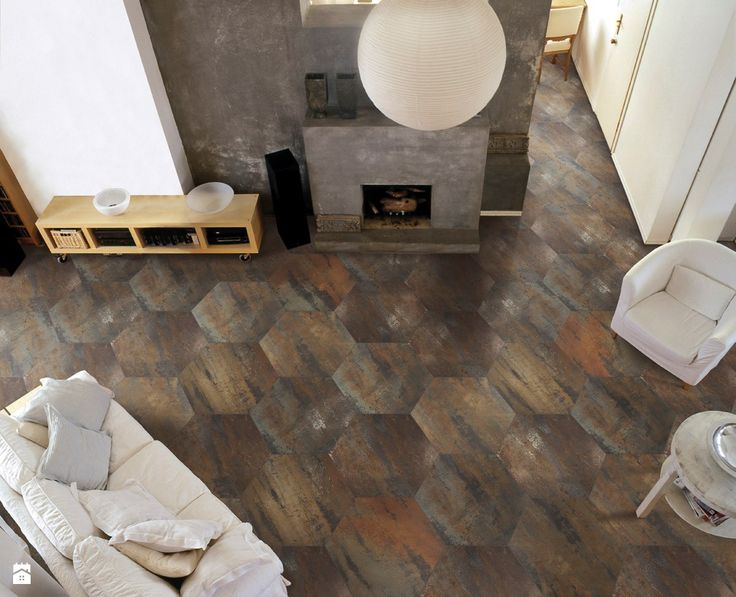 Xtreme copper lappato hexagonal - Salon - Styl Industrialny - Ceramica Promat