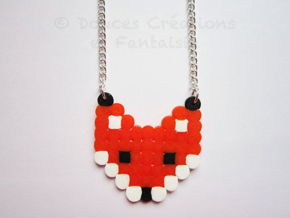 Bijou Collier Renard animal perle hama bead 8 par DoucesCreations