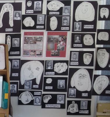 Inquiring Minds: Mrs. Myers' Kindergarten: I love the black and white photos and black ink self-portraits!