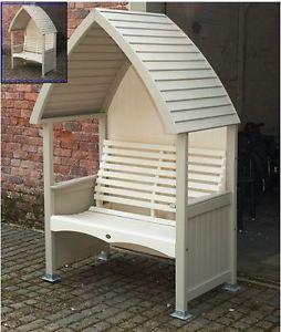 Garden Arbours Beige + Cream Wooden Garden Arbour 2 Seater Bench Furniture