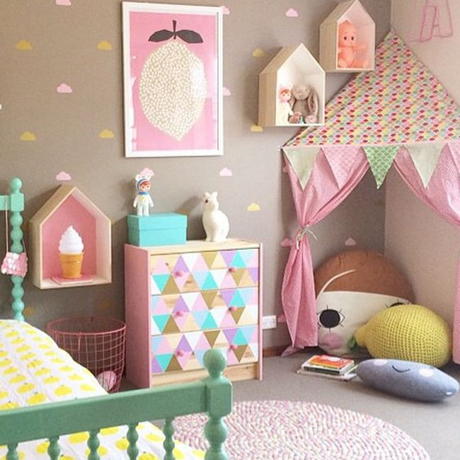 know this is a child's room... but yeah I want it! Corner tent - Oobi.com.au…