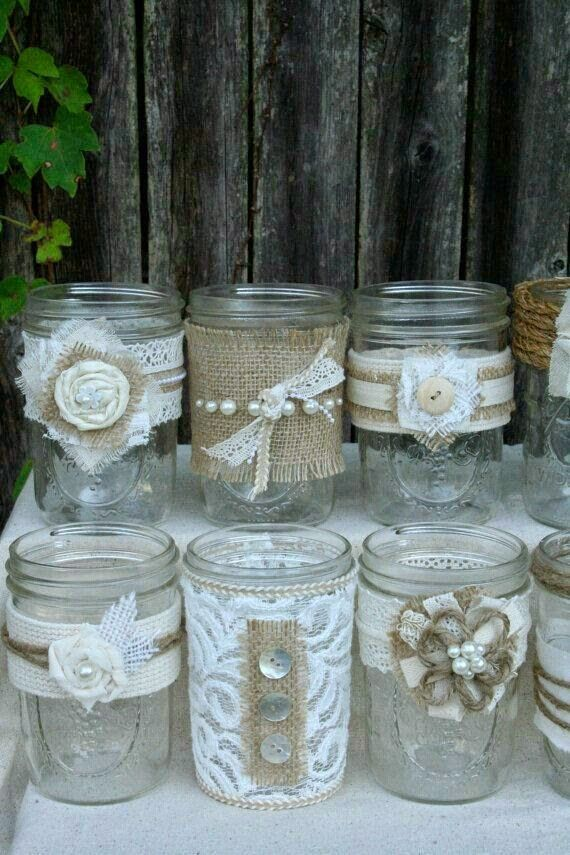 botes arpillera pantalla botellas decoradas floreros frascos vidrio tarros cristal bautismo fiestas