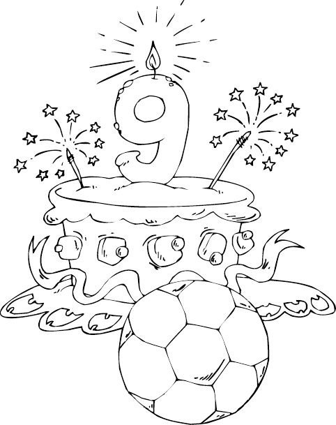 Birthday Cake Age 9 Coloring Page  Coloringcom