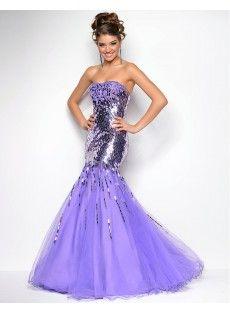 Sequin Tulle Trumpet Mermaid Prom Dress