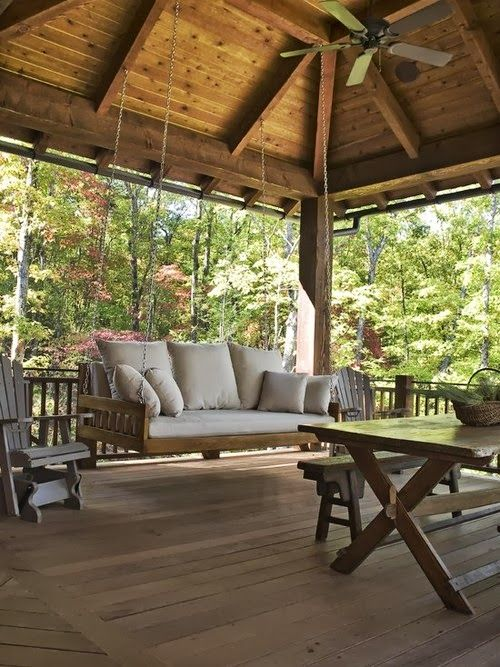 25 best ideas about rustic porch swings on pinterest for Rustic covered decks