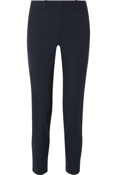 Theory - Testra Wool-blend Crepe Slim-leg Pants - Midnight blue - US4