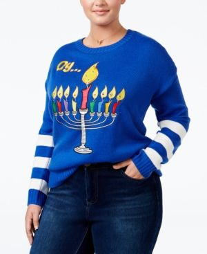 It's Our Time Trendy Plus Size Menorah Light-Up Holiday Sweater - Blue 2X