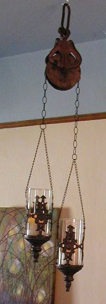 Old Pulley, Chain, 2 Hanging Candle Holders (from Hobby Lobby A Few Years