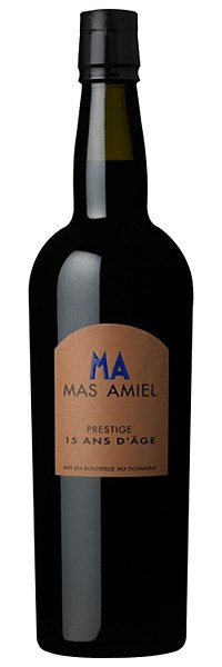 Mas Amiel 15 Years Old - Deep amber-copper colour. Complex, opulent bouquet of fig and chocolate with hints of cumin, Virginia tobacco and crystalised orange. Velvety tannins and an exquisitely-long, decadent finish. Drink with fruitcake, cigars, or just on its own in front of the fire after a hard day at the office. Decant an hour before use.   16% ABV