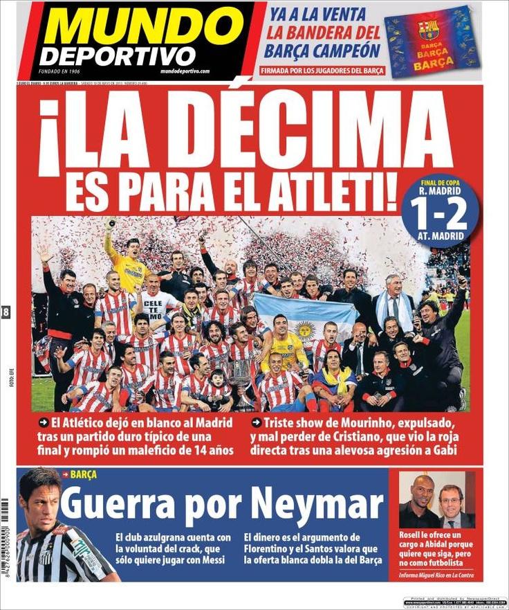 Los Titulares y Portadas de Noticias Destacadas Españolas del 18 de Mayo de 2013 del Diario Mundo Deportivo ¿Que le parecio esta Portada de este Diario Español?
