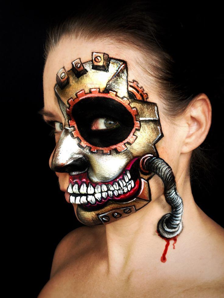 Steampunk skull mask. Face paint design by Kristin Olsson