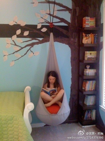 I love this!! These hanging seats are really great for kids, and on my list ... but to implement it in this way!?!? Genius!