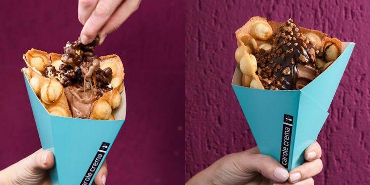 Confeitaria inova com doce europeu feito com cone de waffle, sorvete, calda e muita crocância
