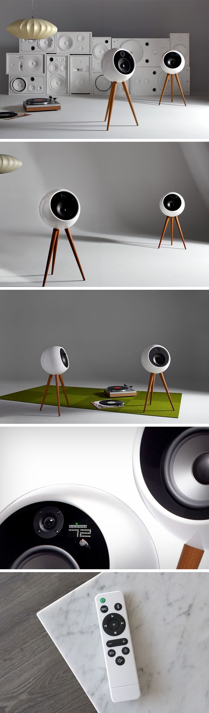 The Moonraker looks more like a variation of the Sputnik satellite than a speaker, and it's this very quality that makes it a wonderful centerpiece in homes. Designed with the flair you'd expect from high-end audio systems (Bang and Olufsen and such), the Moonraker is a white orb that sits on three wooden legs. BUY NOW!