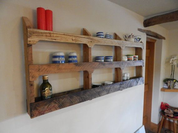 Reclaimed designer wall mounted wood shelving unit, shabby rustic country feel.