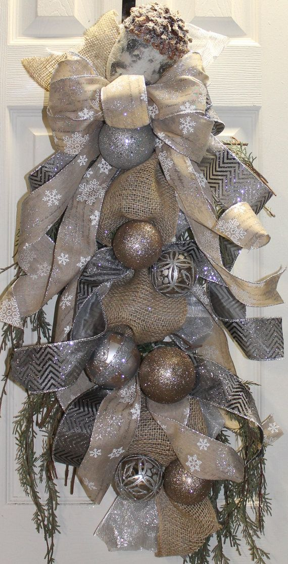 Elegant Christmas Burlap and Silver Swag by southernchicbyle