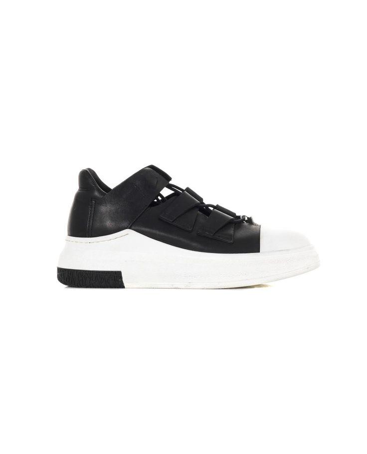 CINZIA ARAIA LEATHER OPEN SNEAKERS S/S 2016 Black leather sneakers lace-up open shoe upper  white rubber sole: 4,5 cm