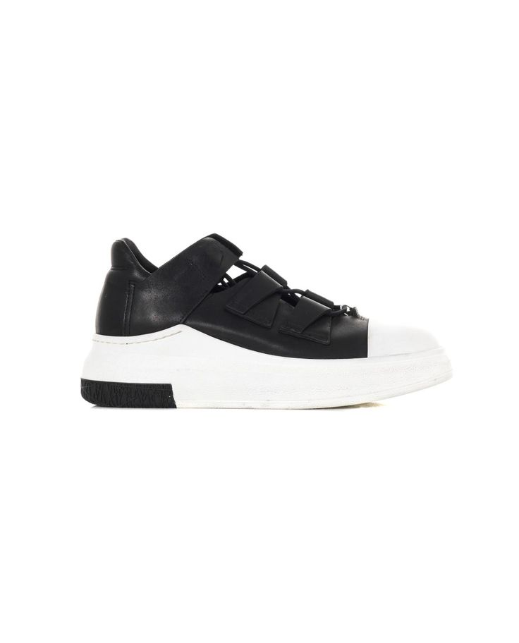 CINZIA ARAIA LEATHER OPEN SNEAKERS S/S 2016 Black leather sneakers lace-up open shoe upper  white rubber sole: 4,5 cm