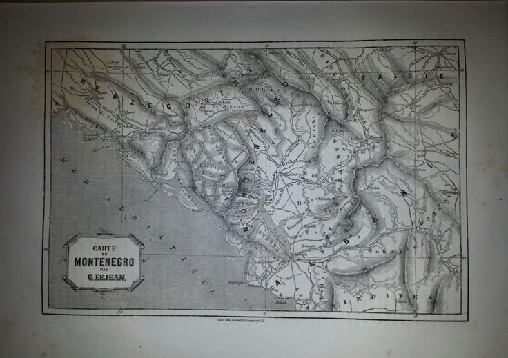 Antique Map of Montenegro, Balkans 1860 by reveriefrance on Etsy