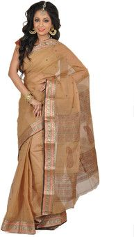 Aparnaa Self Design Embroidered Embellished Cotton Sari:   Sari  Rs. 1,666 62% OFF Selling Price (Free delivery)