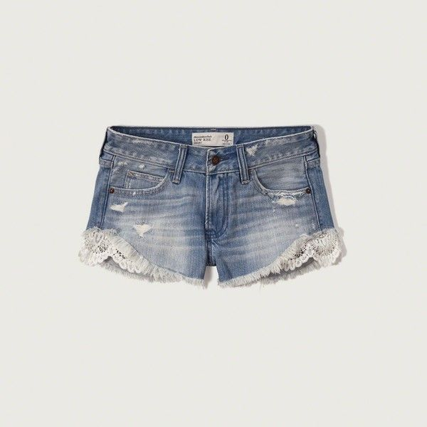 Abercrombie & Fitch Lace Panel Denim Shorts ($58) ❤ liked on Polyvore featuring shorts, destroyed medium wash, cuffed shorts, ripped shorts, low rise denim shorts, low rise jean shorts and distressed jean shorts