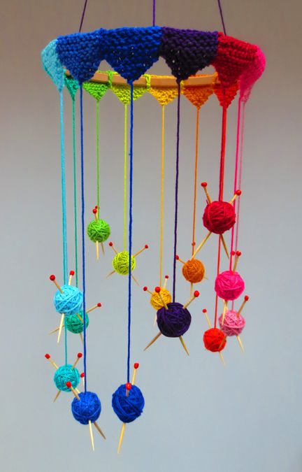 Knitting Mobile - perfect for decorating your crafting space. Next small group table deco