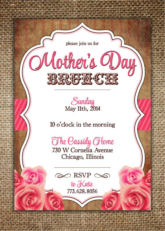 Mother S Day Birthday Invitation Vintage Design By