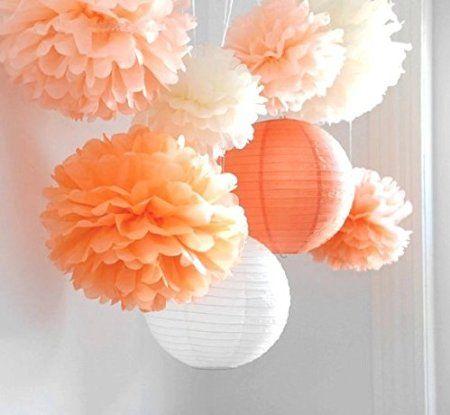 SUNBEAUTY Arancione Pom Pom stile 8 pezzi di carta Fiore & lanterna decorazione appesa per la festa nuziale di compleanno di bambino di Pasqua