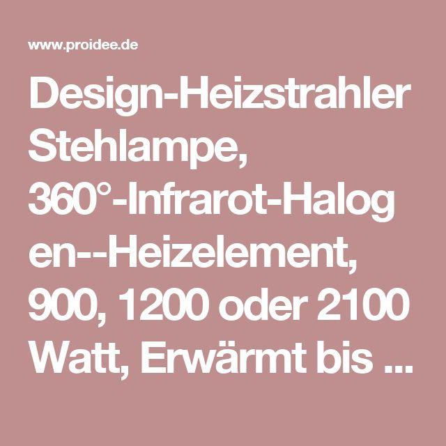 Design-Heizstrahler Stehlampe, 360°-Infrarot-Halogen-Heizelement, 900, 1200 oder 2100 Watt, Erwärmt bis zu 9 qm, Schwarz