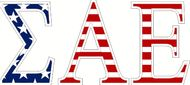 "Sigma Alpha Epsilon American Flag Greek Letter Sticker - 2.5"" Tall"