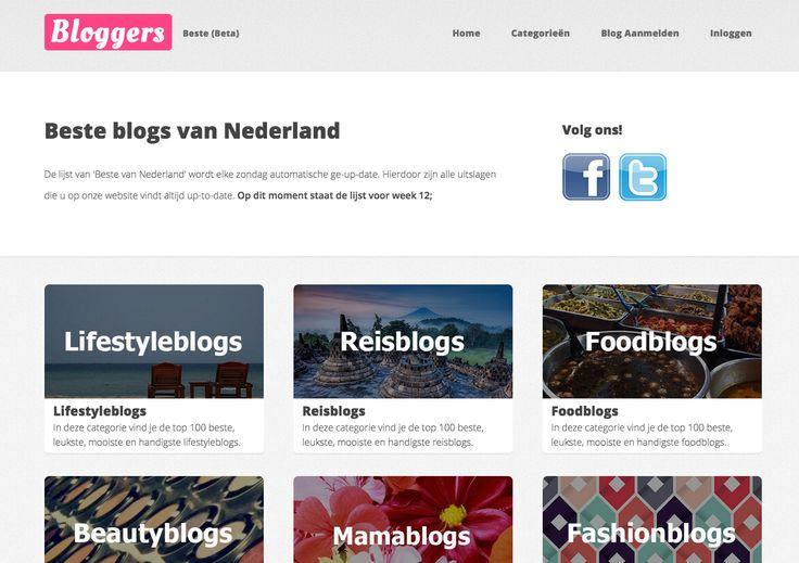 www.bestebloggers.nl. Vrij nieuw platform waar de top 100 bloggers per categorie op terug te vinden zijn. Maak jij je eigen categorie aan? Je kunt je eigen blog er sowieso aanmelden.