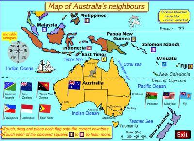 Map if Australia's neighbors. Year 3 geography Australian Curriculum