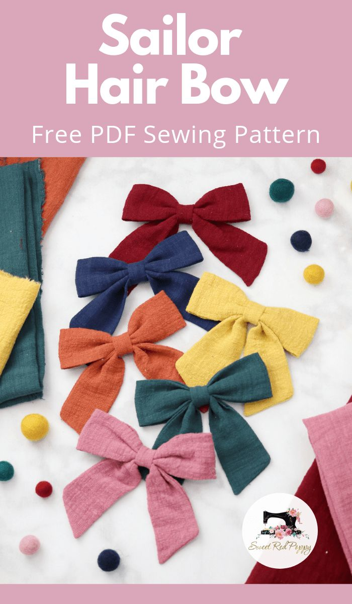 Pdf Pattern Tutorial Hand Embroidery Stitch My Garden 002: Sailor Hair Bow Sewing Tutorial And Free Printable PDF
