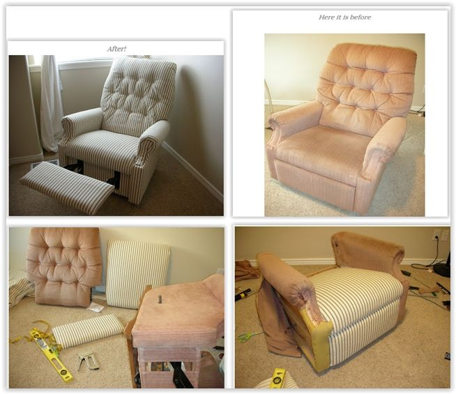 How To Reupholster A Recliner ... You Would Be Surprised At How Easy It.  First PlaceRefinished FurnitureFurniture DecorThe ...
