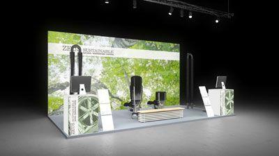 433 Heizungsanlagen Zeus Sustainable | Schlichter Messestand für einen Hersteller von Heizungsanlagen.  Der kleine Kopfstand mit dem fotorealistische Blätterwald Motiv bietet dem Betracht...