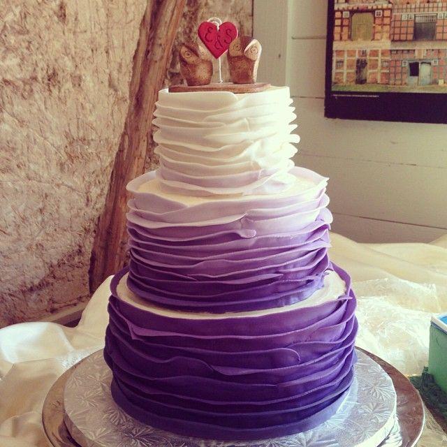 Purple Ombre Ruffle Wedding Cake / 2tarts Bakery / New Braunfels, TX / www.2tarts.com